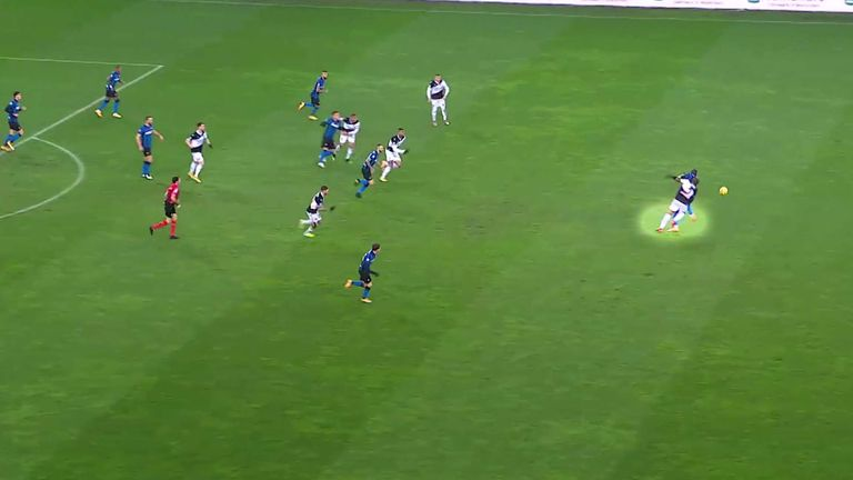 Udinese defender Samir, unable to stop Lukaku turning him, hauled the striker down for a tactical foul which earned him a yellow card