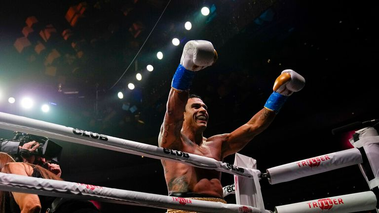 Former MMA star Vitor Belfort celebrates his first-round win over former heavyweight champion Evander Holyfield in a boxing bout Saturday, Sept. 11, 2021, in Hollywood, Fla. (AP Photo/Rebecca Blackwell)