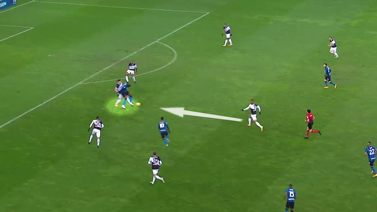 With pressure on him, Lukaku's pass back towards Lautaro Martinez is intercepted by Walace, who is alert to the danger of the second ball