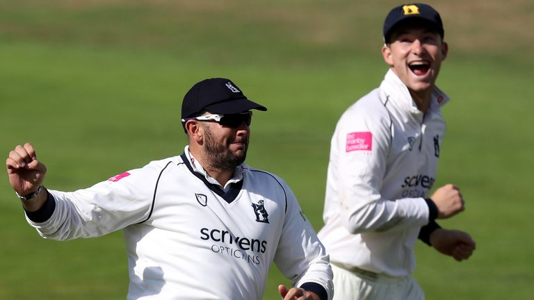 Tim Bresnan (left) took six catches in the innings as Warwickshire beat his former county Yorkshire