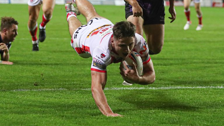 Jack Welsby scored one of seven tries as St Helens responded to defeat last week by demolishing Leeds