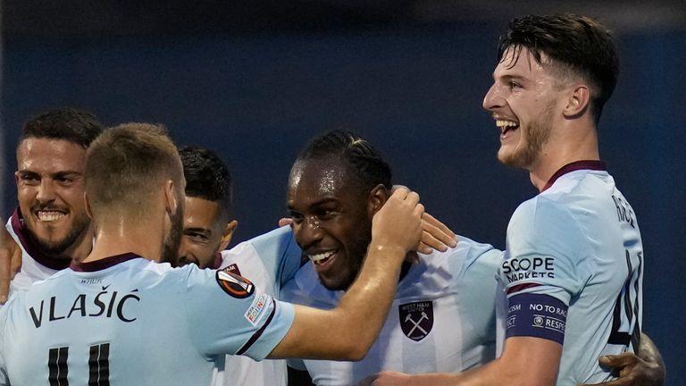 West Ham celebrate a goal in the Europa League