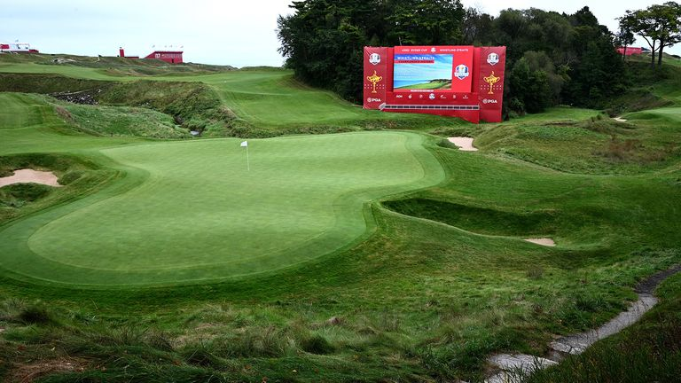 A view of the eighteenth hole during the first preview day of the 43rd Ryder Cup at Whistling Straits, Wisconsin