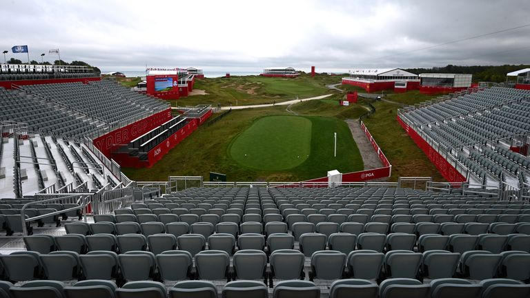 A general view of the course from the grandstand at Whistling Straits