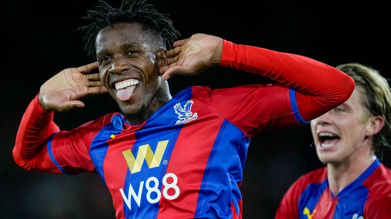 Wilfried Zaha celebrates scoring a penalty for Crystal Palace vs Brighton