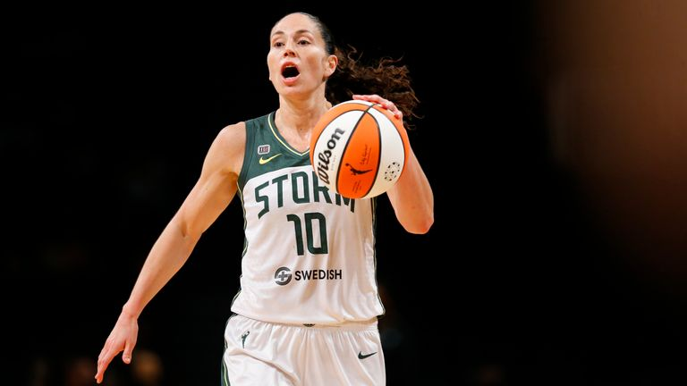 Seattle Storm Watch Sue Bird (10) dribbles the ball against    the New York Liberty during the first half of    a WNBA basketball game Friday, Aug 20, 2021 in New York.  (AP Photo/Noah K. Murray)