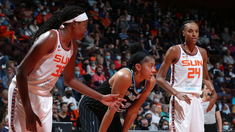 From left to right: Jonquel Jones, Candace Parker and DeWanna Bonner