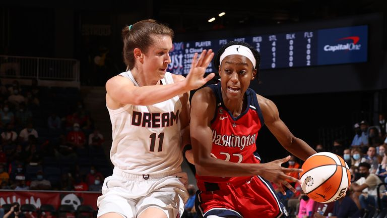 Shatori Walker-Kimbrough #32 of the Washington Mystics handles the ball during the game against the Atlanta Dream on September 10, 2021 at the Entertainment & Sports Arena in Washington,