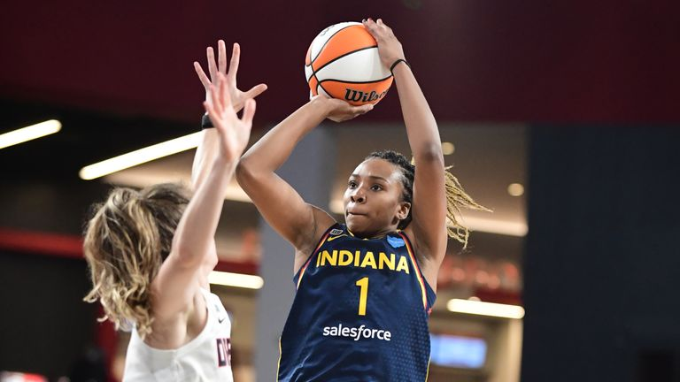 Aaliyah Wilson #1 of the Indiana Fever shoots the ball during the game against the Atlanta Dream on September 14, 2021 at Gateway Center Arena in College Park, Georgia.
