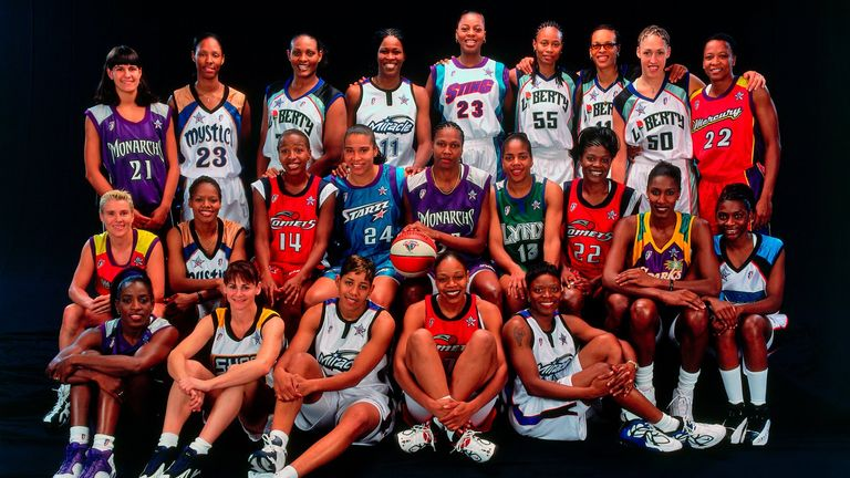 Ticha Penicheiro (top left) and Ruthie Bolton (bottom left) as part of the 1999 All-Star Game