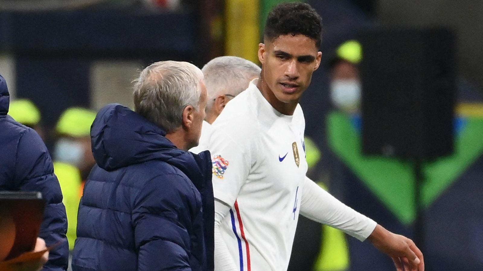 Raphael Varane injury: Man Utd defender hobbles out of UEFA Nations League final between France and Spain | Football News | Sky Sports