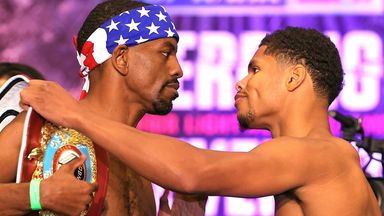 Jamel Herring pushed away Shakur Stevenson's hand at the weigh-in