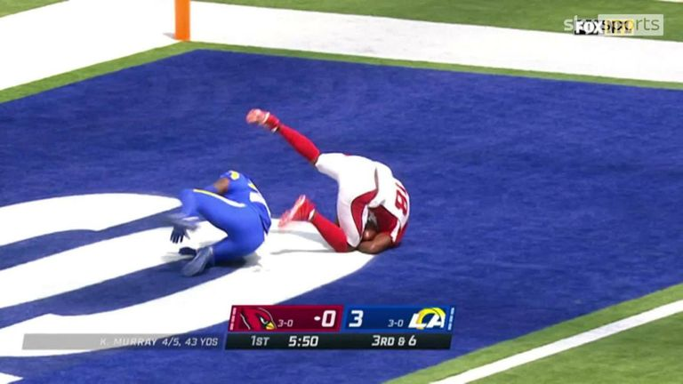 Kyler Murray with a deep 41-yard touchdown pass to AJ Green as the Cardinals get their first points against the Rams
