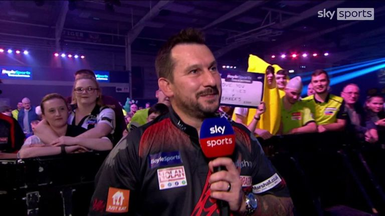 Jonny Clayton received quite an ovation at the Morningside Arena as he spoke to Sky Sports' Polly James