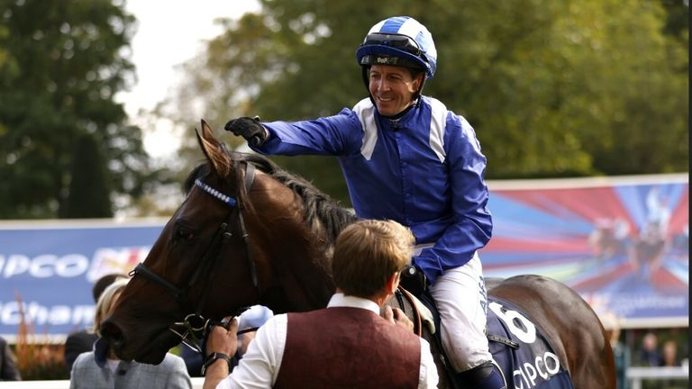 Baaeed and Jim Crowley after winning the Queen Elizabeth II Stakes