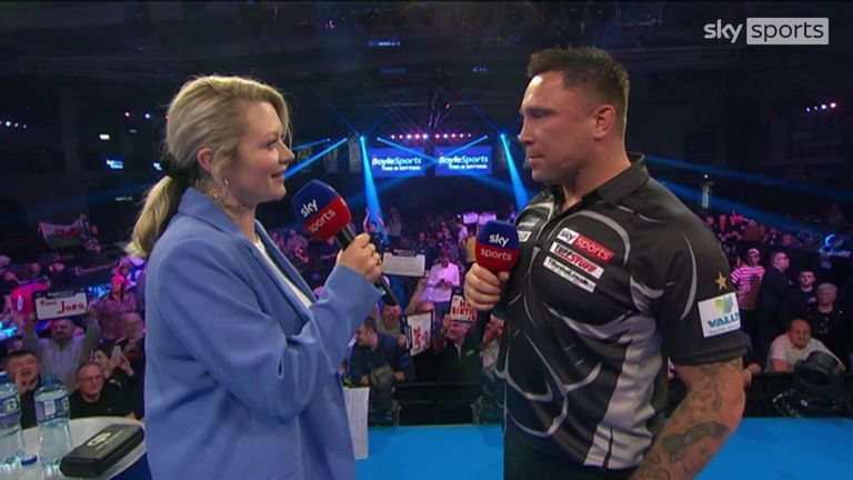 Gerwyn Price told Polly James that he had 'to dig deep' as he beat Mervyn King to reach the quarter-finals of the World Grand Prix