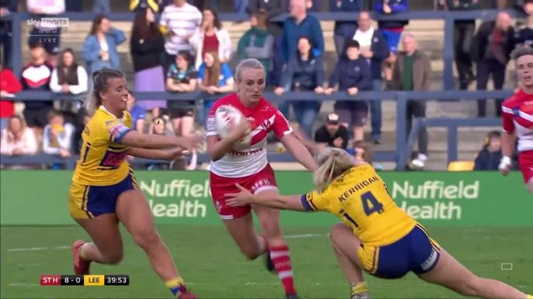 Jodie Cunningham picked it up from her own half and flew through the Leeds defence to extend St Helens' lead