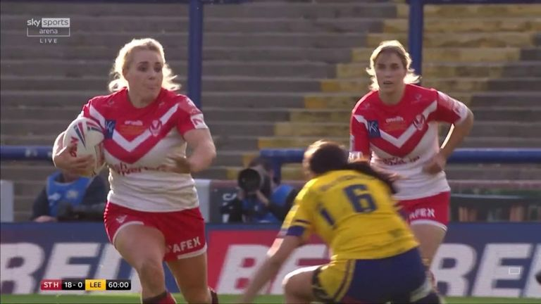 Amy Hardcastle ran 65 metres to all but clinch the title for St Helens