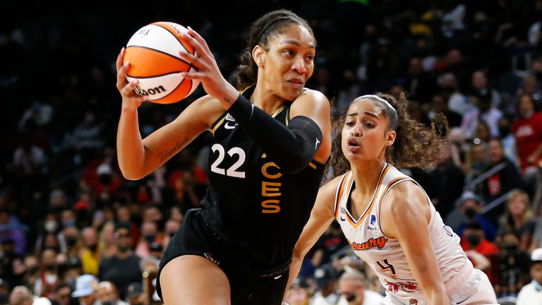 Las Vegas Aces forward A'ja Wilson (22) drives to the basket against Phoenix Mercury guard Skylar Diggins-Smith during the second half of Game 5 of a WNBA basketball playoff series Friday, Oct. 8, 2021, in Las Vegas.