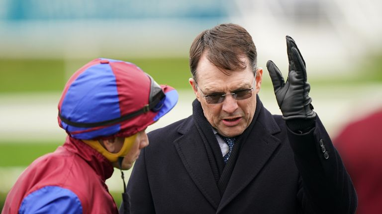 Aidan O'Brien issues instructions to Ryan Moore ahead of Luxembourg's run in the Vertem Futurity