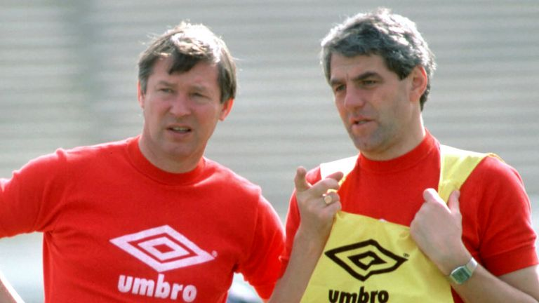 Alex Ferguson (left) with Walter Smith as his assistant during their time together with Scotland back in the mid-80s.