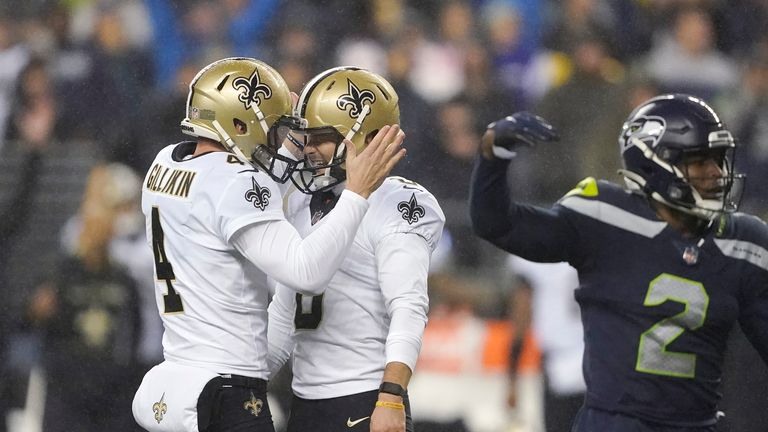 Brian Johnson kicked the game-winning 33-yard field goal with less than two minutes to go as New Orleans saw off Seattle.