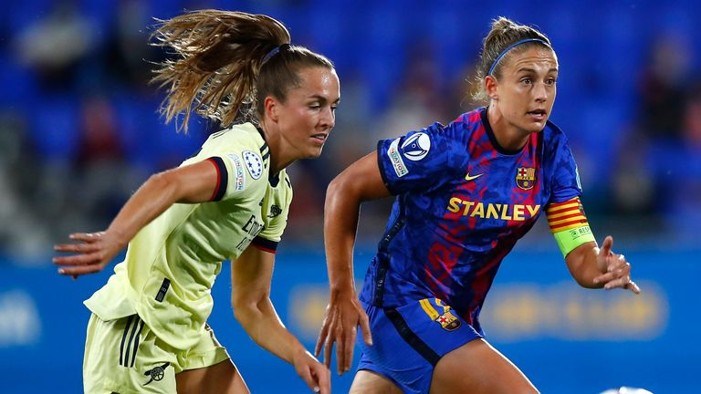 Barcelona's Alexia Putellas wins the ball during Women's Champions League match against Arsenal