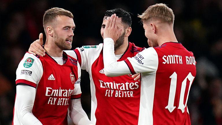 Arsenal celebrate a goal vs Leeds