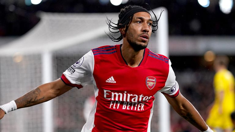 Arsenal's Pierre-Emerick Aubameyang celebrates scoring their side's first goal of the game during the Premier League match at the Emirates Stadium, London. Picture date: Monday October 18, 2021.