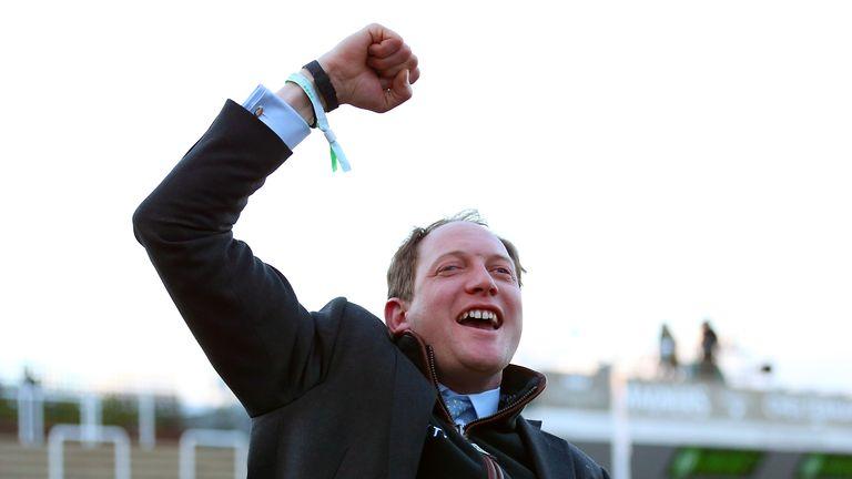 Trainer Ben Pauling celebrates winning at the 2019 Cheltenham Festival