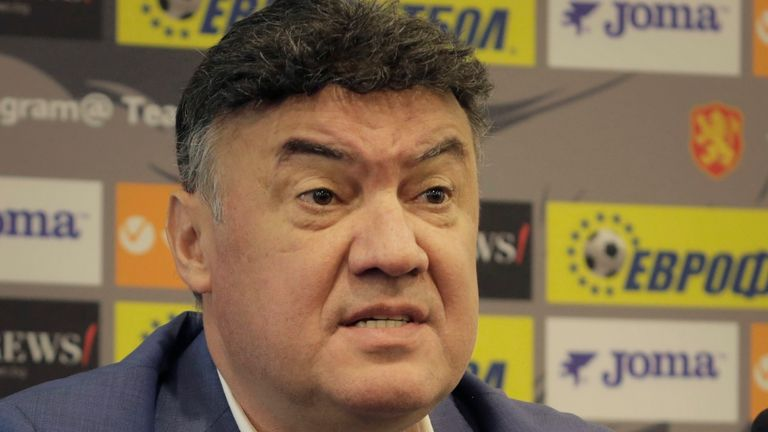 AP - Borislav Mihailov speaks during press conference in Sofia, Bulgaria, Friday,  Oct. 18, 2019. The president of Bulgaria...s Football Union Borislav Mihaylov handed in his resignation to the executive committee of the union on Friday.  (AP Photo/Valentina Petrova)..