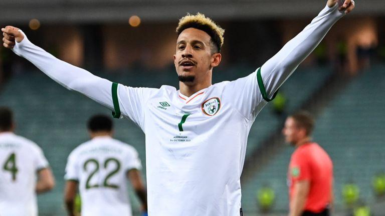 Callum Robinson celebrates after giving Republic of Ireland the lead in Azerbaijan