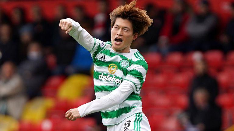 Celtic's Kyogo Furuhashi celebrates scoring against Aberdeen
