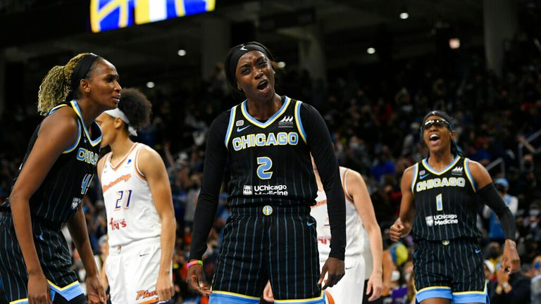 s Kahleah Copper (2) reacts after being fouled during the first half of Game 3 of the WNBA Finals against the Phoenix Mercury Friday, Oct. 15, 2021, in Chicago. (AP Photo/Paul Beaty