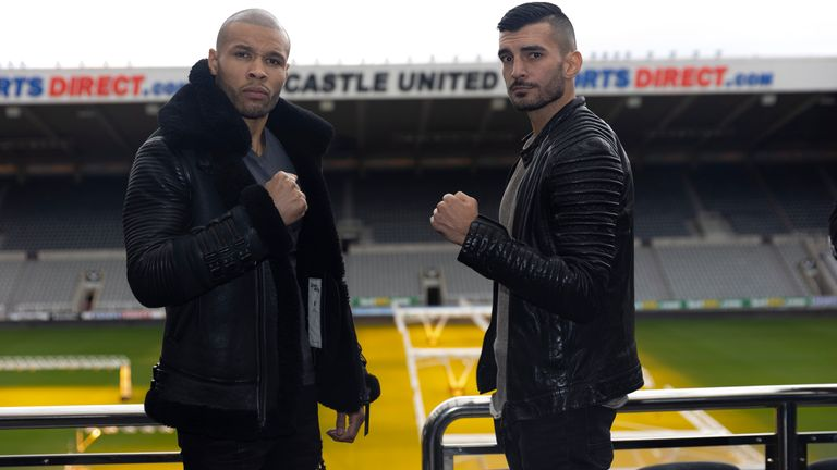 CHAMPIONSHIP BOXING PRESS CONFERENCE.ST,JAMES...S PARK,.NEWCASTLE.PIC;LAWRENCE LUSTIG.CHRIS EUBANK JR AND WANIK AWDIJAN    COME FACE TO FACE BEFORE THEY MEET ON THE BOXXER PROMOTION AT THE UTILITA ARENA ON SATURDAY NIGHT (16-10-21).