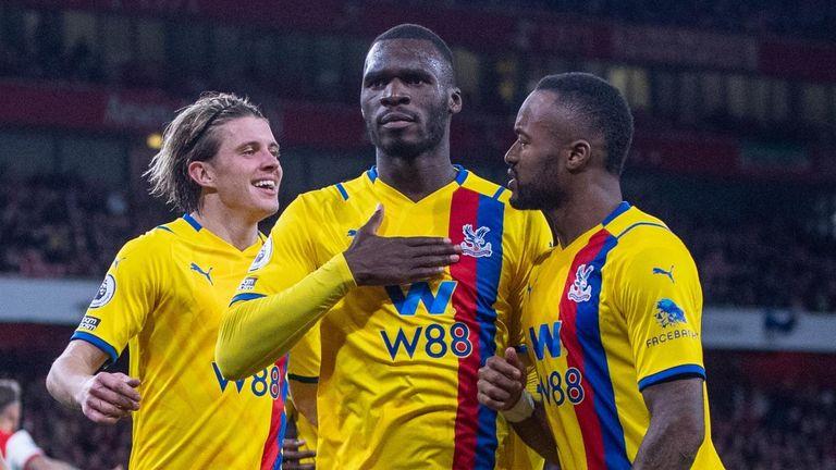 Christian Benteke celebrates scoring Crystal Palace's first goal against Arsenal