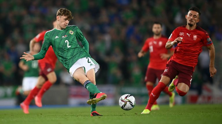 Conor Bradley of Northern Ireland during the FIFA World Cup 2022 qualifying group C match between Northern Ireland and Switzerland at National Football Stadium at Windsor Park in Belfast