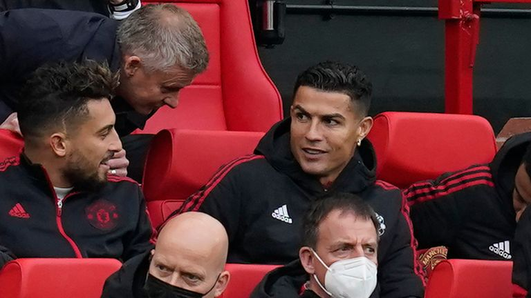 Cristiano Ronaldo is pictured on the Man Utd bench at Old Trafford (Andrew Yates/CSM via ZUMA Wire)