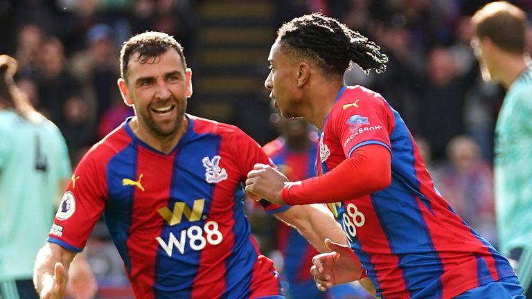 Michael Olise celebrates his goal against Leicester