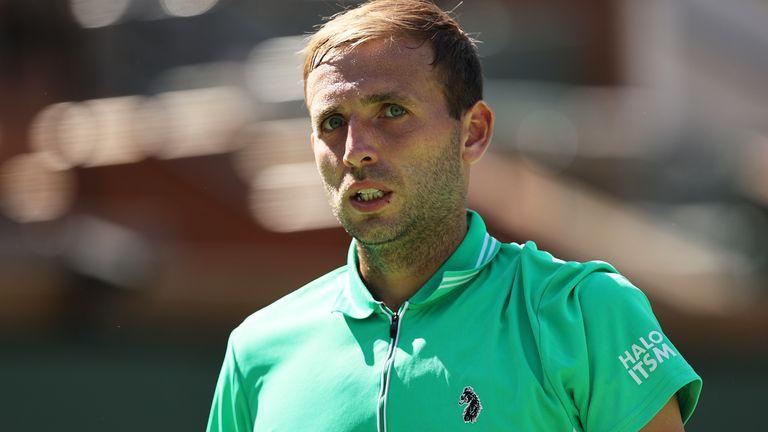 Dan Evans shows his dejection after suffering defeat to Diego Schwartzman at the BNP Paribas Open in Indian Wells