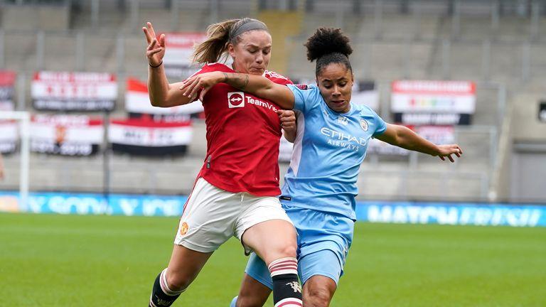 AP - Demi Stokes in action against Man Utd Women
