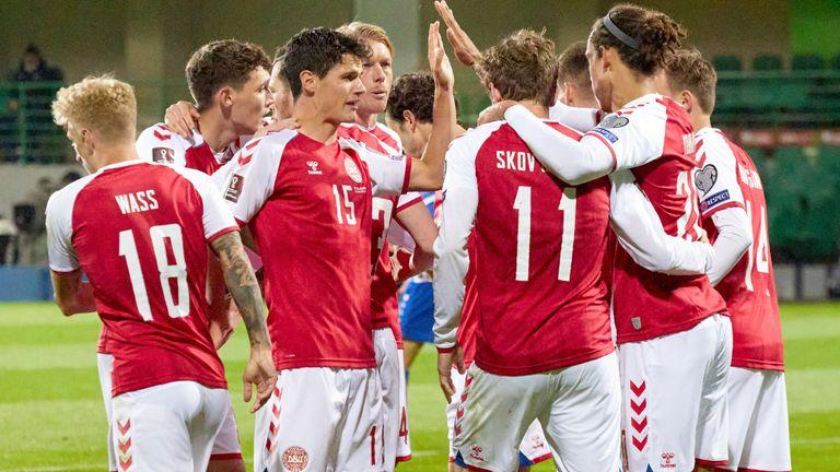 Denmark's Andreas Skov Olsen celebrates after scoring his side's first goal