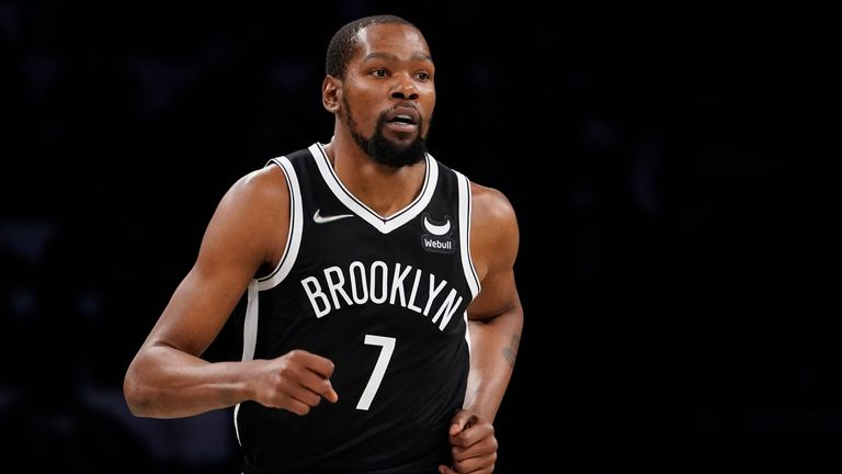 Brooklyn Nets forward Kevin Durant runs the court during the first half of an NBA basketball game against the Charlotte Hornets, Sunday, Oct. 24, 2021, in New York.