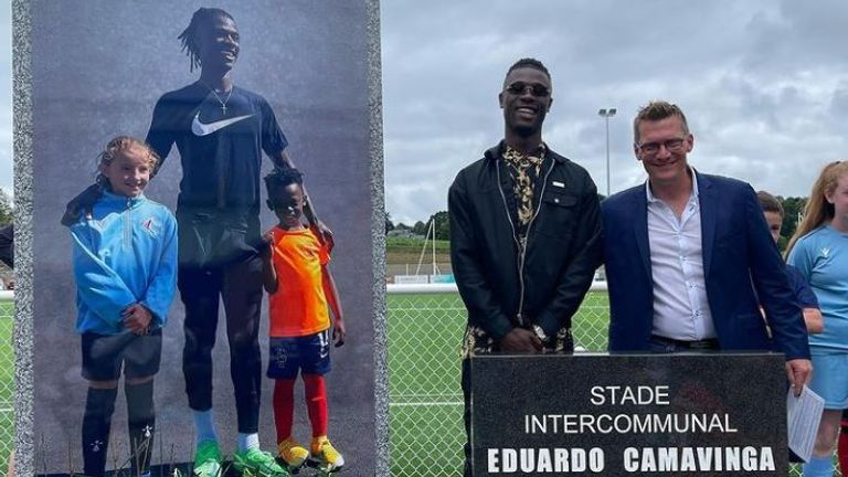 Eduardo Camavinga returns to AGL-Drapeau Fougeres to be honoured [Source: Eduardo Camavinga, Instagram]