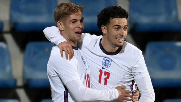 Emile Smith Rowe (right) celebrates after scoring England's winner against Andorra