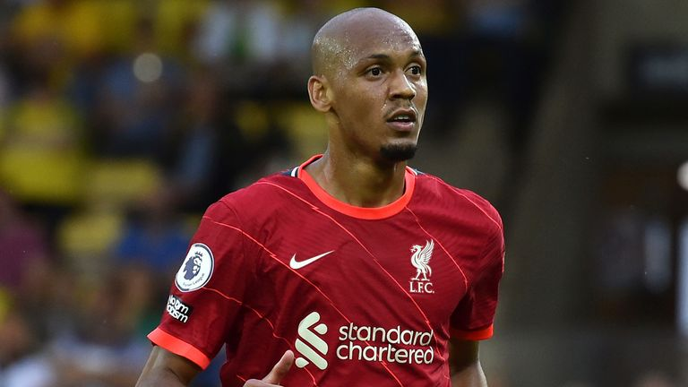 Liverpool's Fabinho during the English Premier League soccer match between Norwich City and Liverpool at Carrow Road in Norwich, England, Saturday, Aug. 14, 2021. (AP Photo/Rui Vieira)
