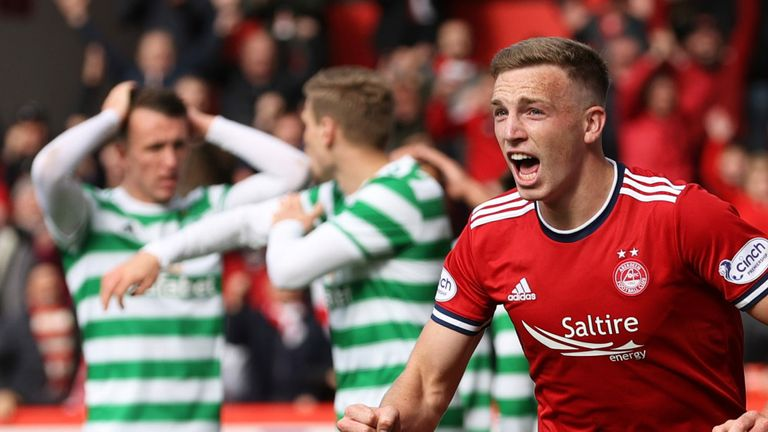 Lewis Ferguson celebrates drawing Aberdeen level against Celtic