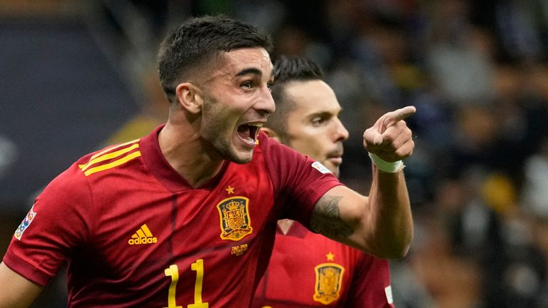 Ferran Torres celebrates during Spain's win over Italy