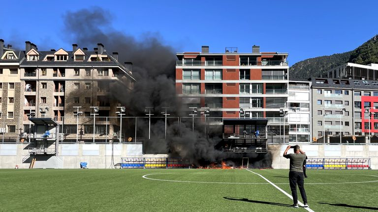 A fire breaks out at Andorra's national stadium the day before the game against England in a World Cup qualifying match