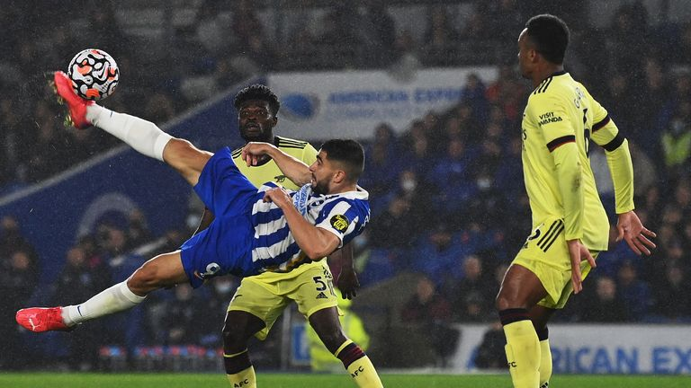 Star man: Gabriel managed to keep Neal Maupay quiet